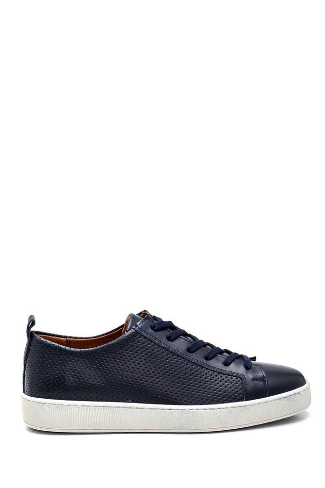 Lacivert Erkek Deri Sneaker 5638257912
