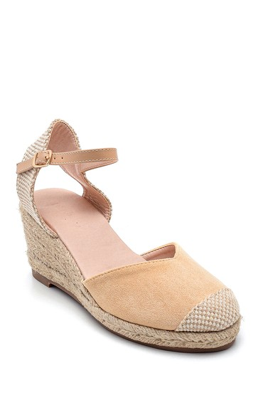Bej Kadın Hasır Dolgu Topuklu Sandalet 5638261064
