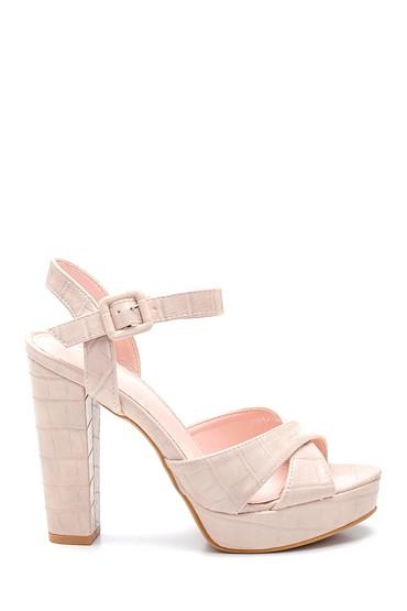 Bej Kadın Platform Topuklu Sandalet 5638261113