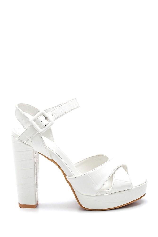 Beyaz Kadın Platform Topuklu Sandalet 5638261112