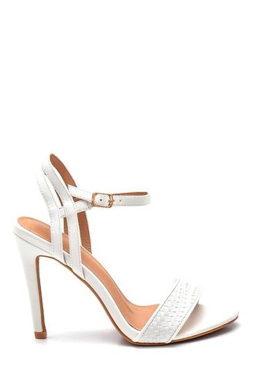 Beyaz Kadın Casual Topuklu Sandalet 5638261131