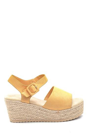 Sarı Kadın Hasır Tabanlı Casual Sandalet 5638261371
