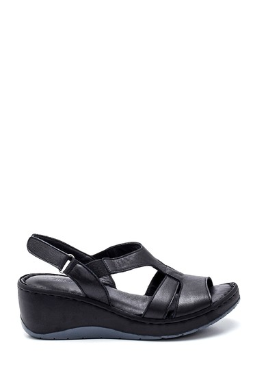 Siyah Kadın Comfort Dolgu Topuk Deri Sandalet 5638273837