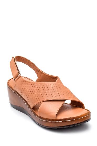 Taba Kadın Comfort Dolgu Topuk Deri Sandalet 5638273894