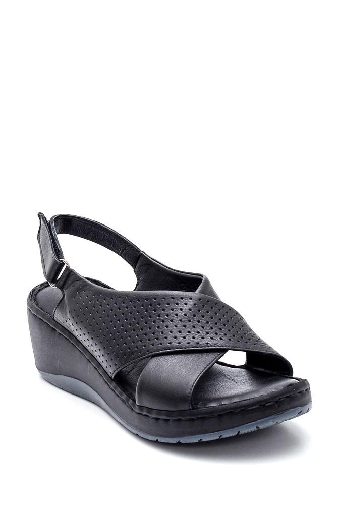 5638273895 Kadın Comfort Dolgu Topuk Deri Sandalet