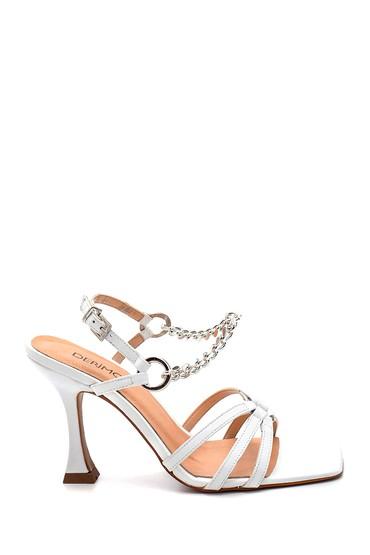 Beyaz Kadın Casual Topuklu Deri Sandalet 5638297783