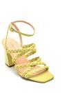 5638298027 Kadın Örgü Detaylı Topuklu Deri Sandalet