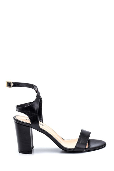 Siyah Kadın Kalın Topuklu Deri Sandalet 5638162349