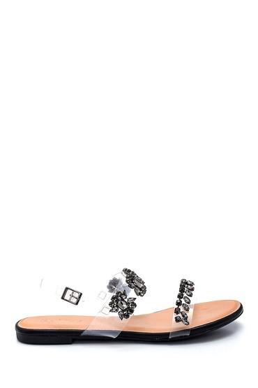 Siyah Kadın Casual Taş Detaylı Sandalet 5638137542