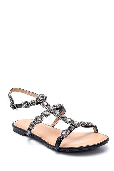 Siyah Kadın Casual Taş Detaylı Sandalet 5638150104