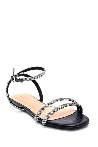 Siyah Kadın Taş Detaylı Casual Sandalet 5638268582