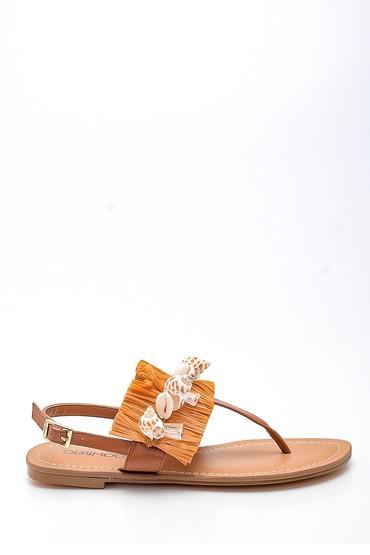 Taba Kadın Deniz Kabuğu Detaylı Parmak Arası Sandalet 5638135518