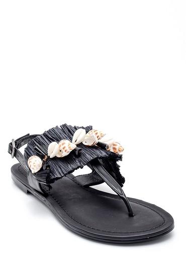 Siyah Kadın Deniz Kabuğu Detaylı Parmak Arası Sandalet 5638135508