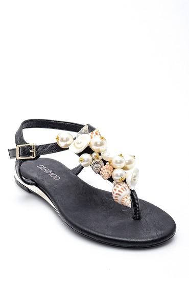 Siyah Kadın Deniz Kabuğu Detaylı Parmak Arası Sandalet 5638135575