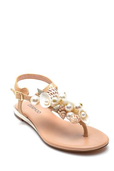 Bej Kadın Deniz Kabuğu Detaylı Parmak Arası Sandalet 5638135577
