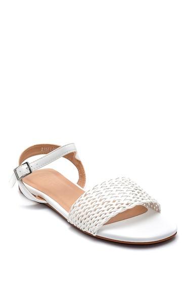 Beyaz Kadın Örgü Detaylı Casual Sandalet 5638259023