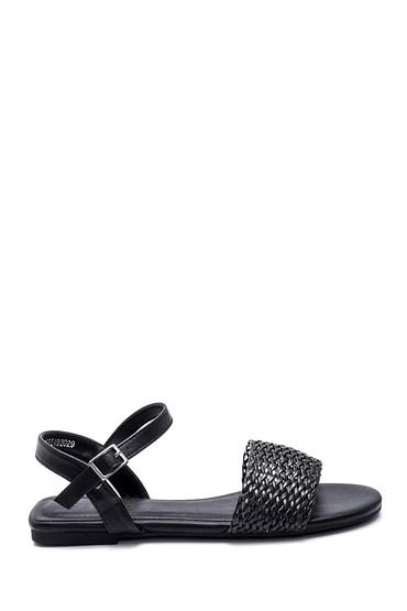 Siyah Kadın Örgü Detaylı Casual Sandalet 5638259010