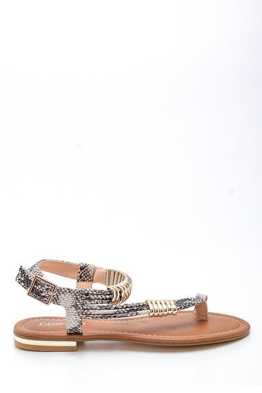 Bej Kadın Parmak Arası Detaylı Casual Deri Sandalet 5638258292