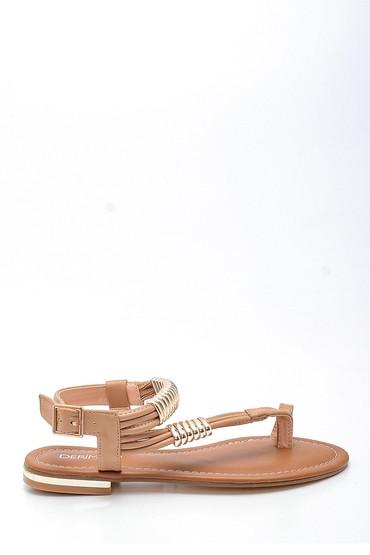 Taba Kadın Parmak Arası Detaylı Casual Deri Sandalet 5638258294