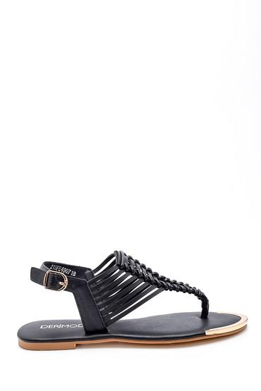 Siyah Kadın Örgü Detaylı Sandalet 5638258383