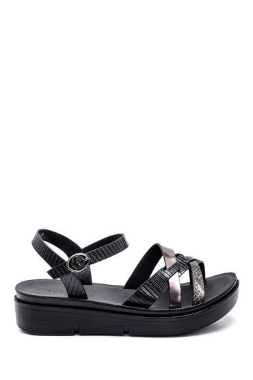 Siyah Kadın Dolgu Topuk Casual Sandalet 5638263226