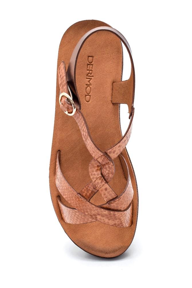 5638263245 Kadın Yılan Desenli Dolgu Topuk Sandalet