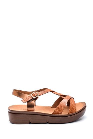 Taba Kadın Yılan Desenli Dolgu Topuk Sandalet 5638263245