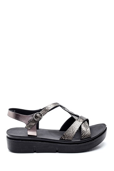 Siyah Kadın Yılan Desenli Dolgu Topuk Sandalet 5638263251