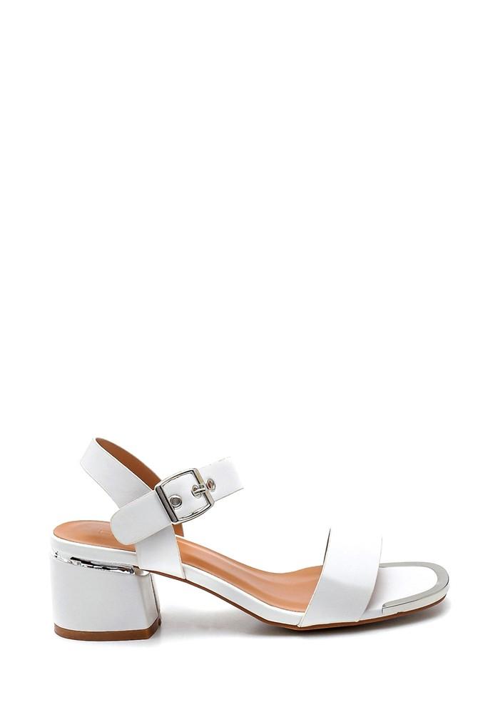 Beyaz Kadın Casual Topuklu Sandalet 5638263327