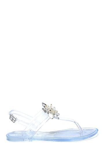 Renksiz Kadın Taş Aksesuarlı Casual Parmakarası Sandalet 5638272712