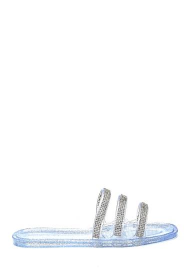 Gümüş Kadın Taş Detaylı Casual Terlik 5638272882