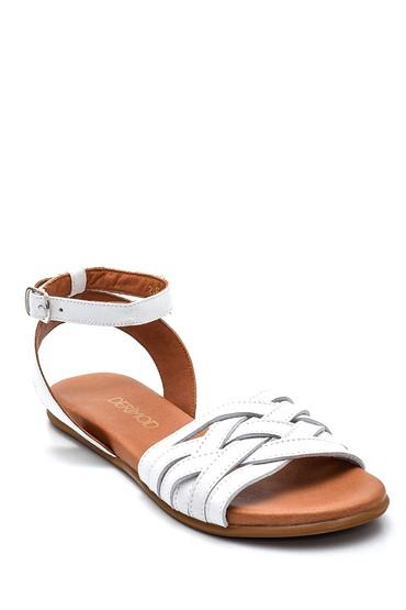 Beyaz Kadın Casual Deri Sandalet 5638260012