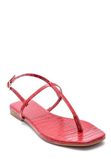 Kırmızı Kadın Kroko Deri Parmak Arası Sandalet 5638266222