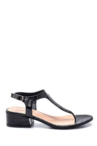 Siyah Kadın Kroko Deri Parmak Arası Sandalet 5638266283