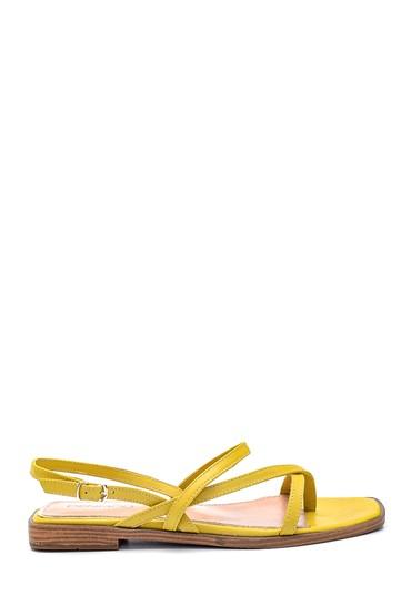 Sarı Kadın Casual Deri Sandalet 5638266317