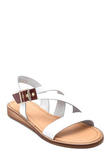 Beyaz Kadın Casual Deri Sandalet 5638261935