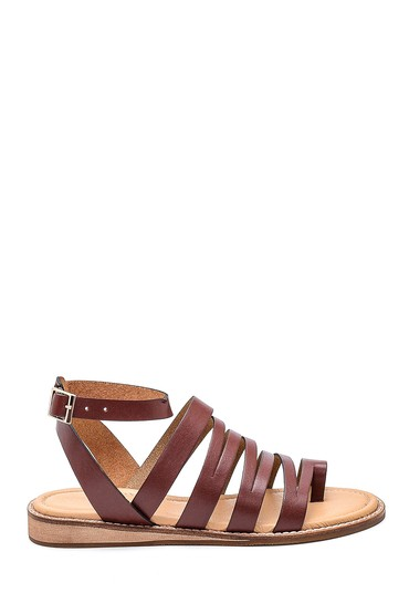 Kahverengi Kadın Parmak Arası Detaylı Casual Deri Sandalet 5638261953
