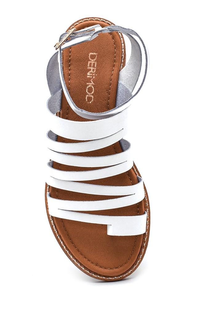 5638261954 Kadın Parmak Arası Detaylı Casual Deri Sandalet