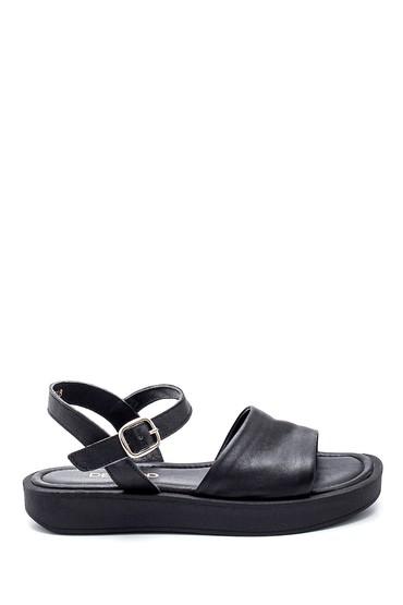 Siyah Kadın Casual Deri Sandalet 5638261992