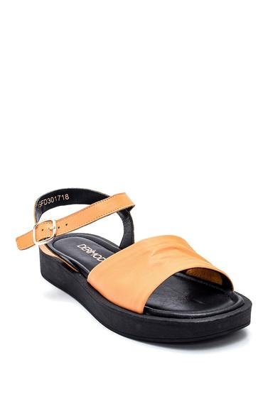 Sarı Kadın Casual Deri Sandalet 5638261996
