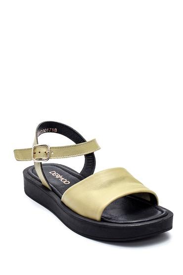 Yeşil Kadın Casual Deri Sandalet 5638261994