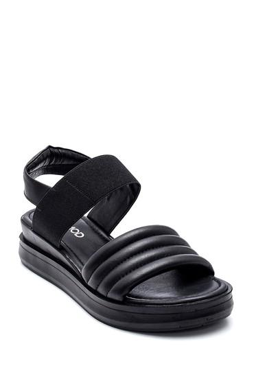 Siyah Kadın Casual Deri Sandalet 5638262086