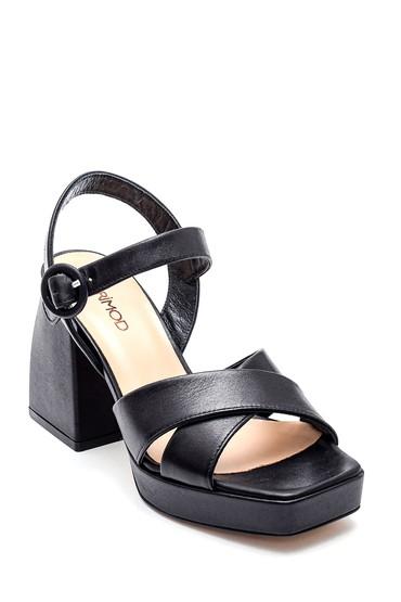 Siyah Kadın Casual Platform Topuklu Deri Sandalet 5638287075