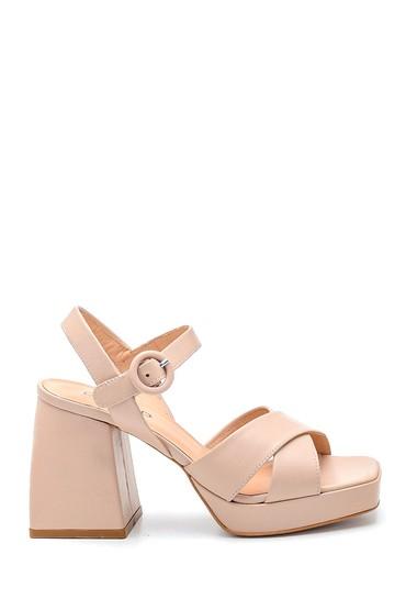 Bej Kadın Casual Platform Topuklu Deri Sandalet 5638287103