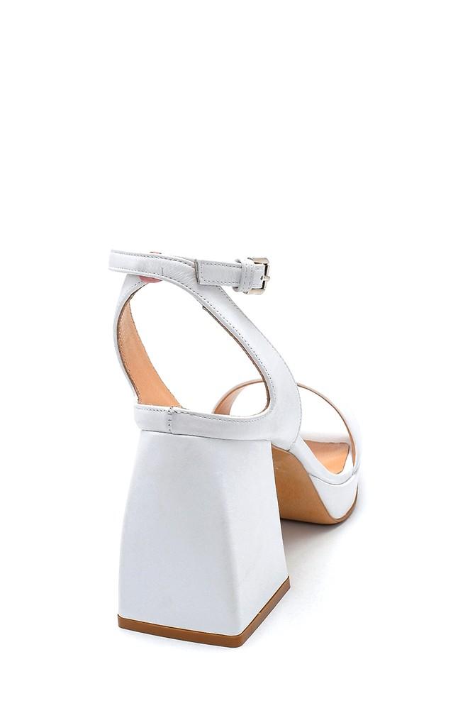 5638290584 Kadın Platform Topuklu Deri Sandalet