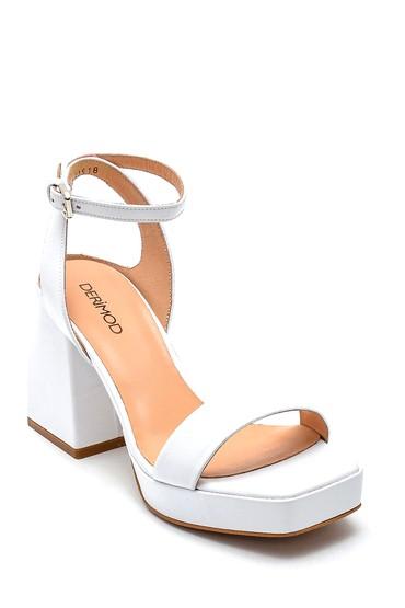Beyaz Kadın Platform Topuklu Deri Sandalet 5638290584