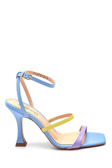 Mavi Kadın Casual Topuklu Deri Sandalet 5638297565