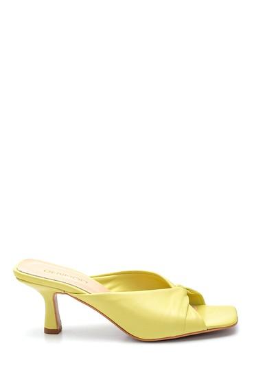 Sarı Kadın Casual Topuklu Deri Terlik 5638297603