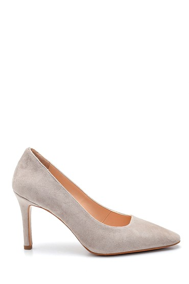 Bej Kadın Süet Deri Topuklu Ayakkabı 5638297633