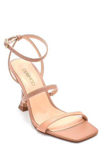 Bej Kadın Casual Topuklu Deri Sandalet 5638298069